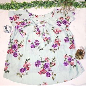 Plus size light blue Flowy floral blouse size 3X